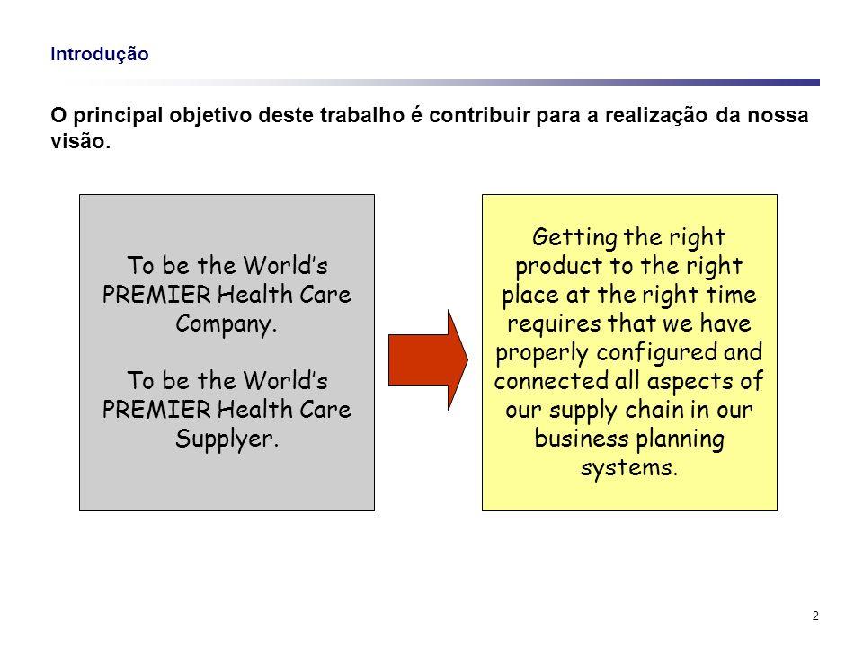 2 Introdução O principal objetivo deste trabalho é contribuir para a realização da nossa visão. To be the Worlds PREMIER Health Care Company. To be th