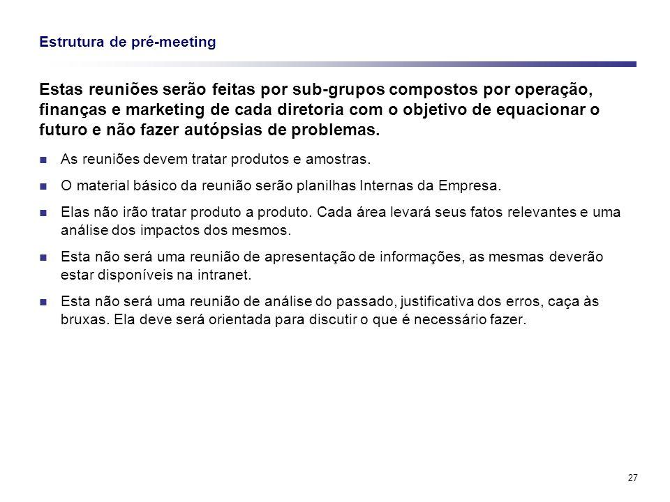 27 Estrutura de pré-meeting Estas reuniões serão feitas por sub-grupos compostos por operação, finanças e marketing de cada diretoria com o objetivo d