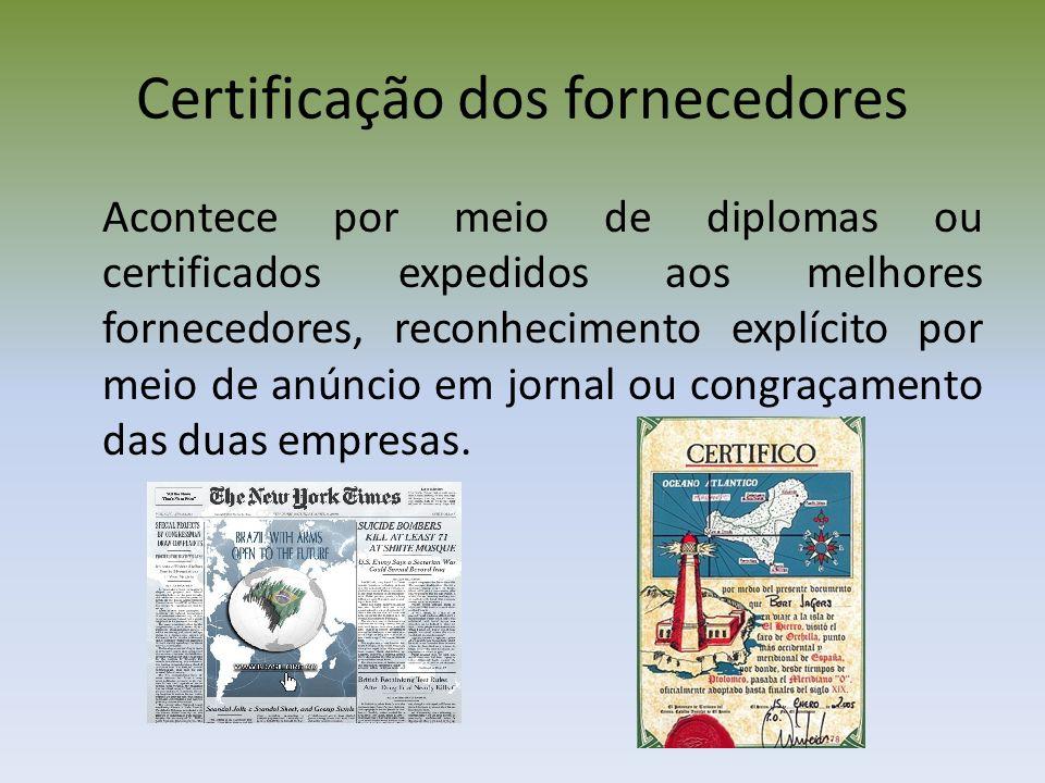 Certificação dos fornecedores Acontece por meio de diplomas ou certificados expedidos aos melhores fornecedores, reconhecimento explícito por meio de