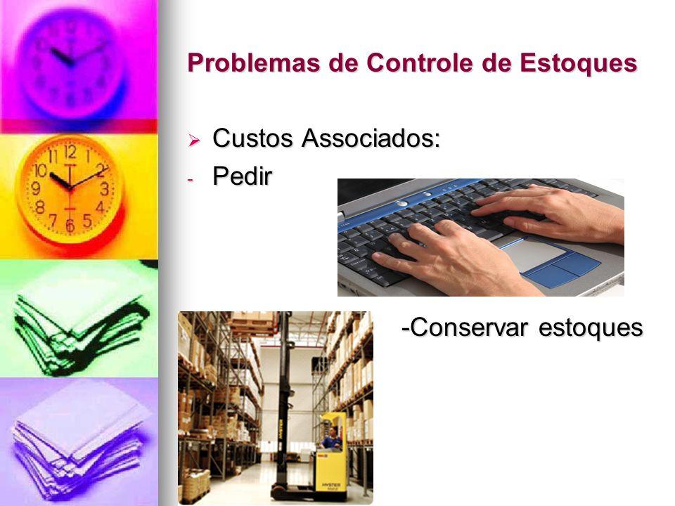 Problemas de Controle de Estoques Custos Associados: Custos Associados: - Pedir - -Conservar estoques