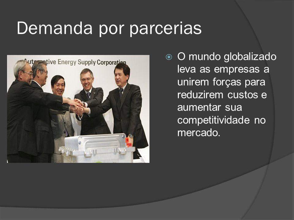 Demanda por parcerias O mundo globalizado leva as empresas a unirem forças para reduzirem custos e aumentar sua competitividade no mercado.