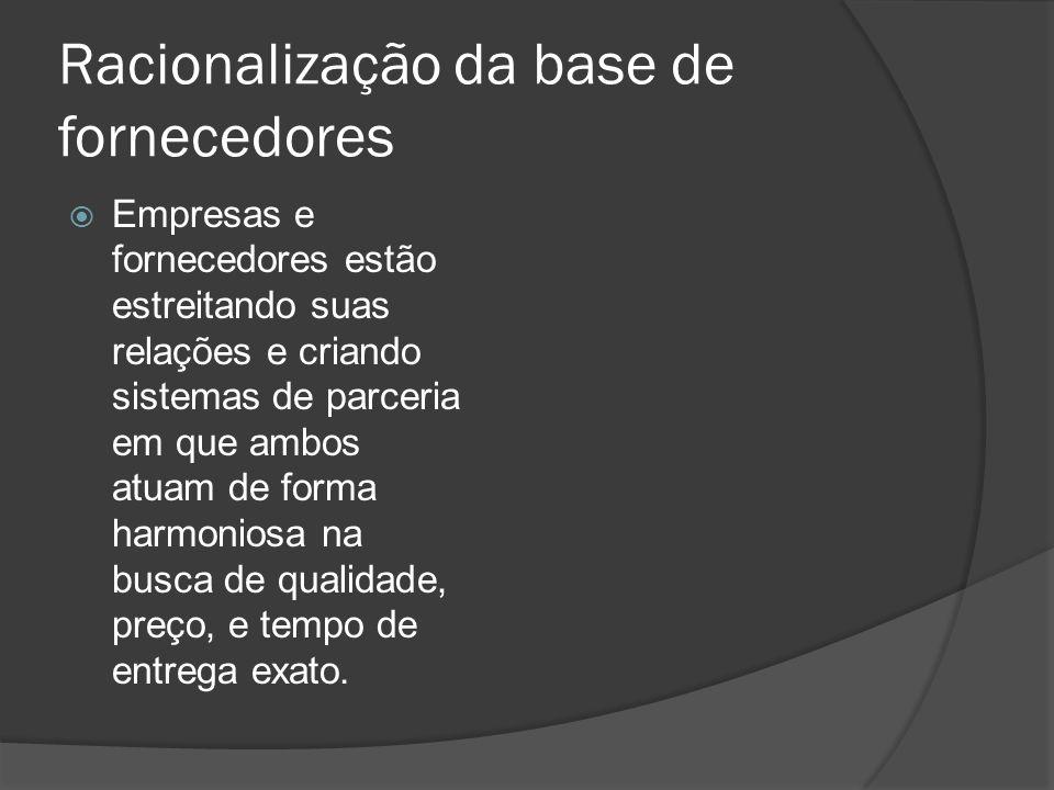 Racionalização da base de fornecedores Empresas e fornecedores estão estreitando suas relações e criando sistemas de parceria em que ambos atuam de fo