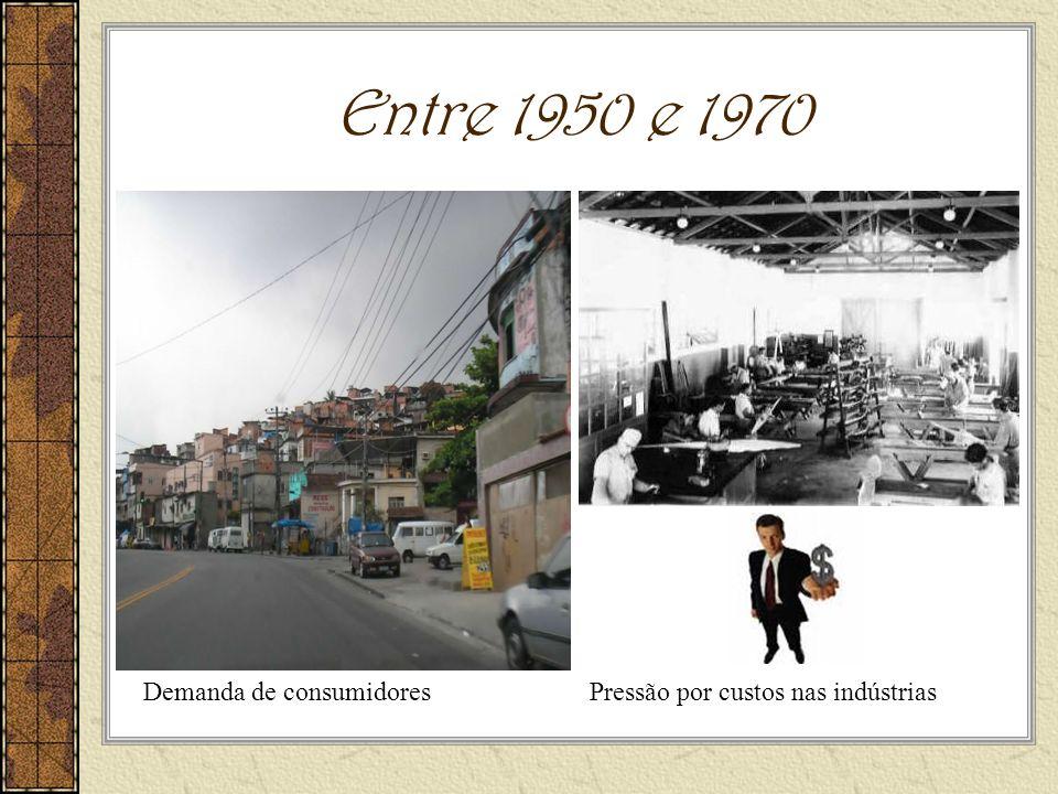 Entre 1950 e 1970 Pressão por custos nas indústriasDemanda de consumidores