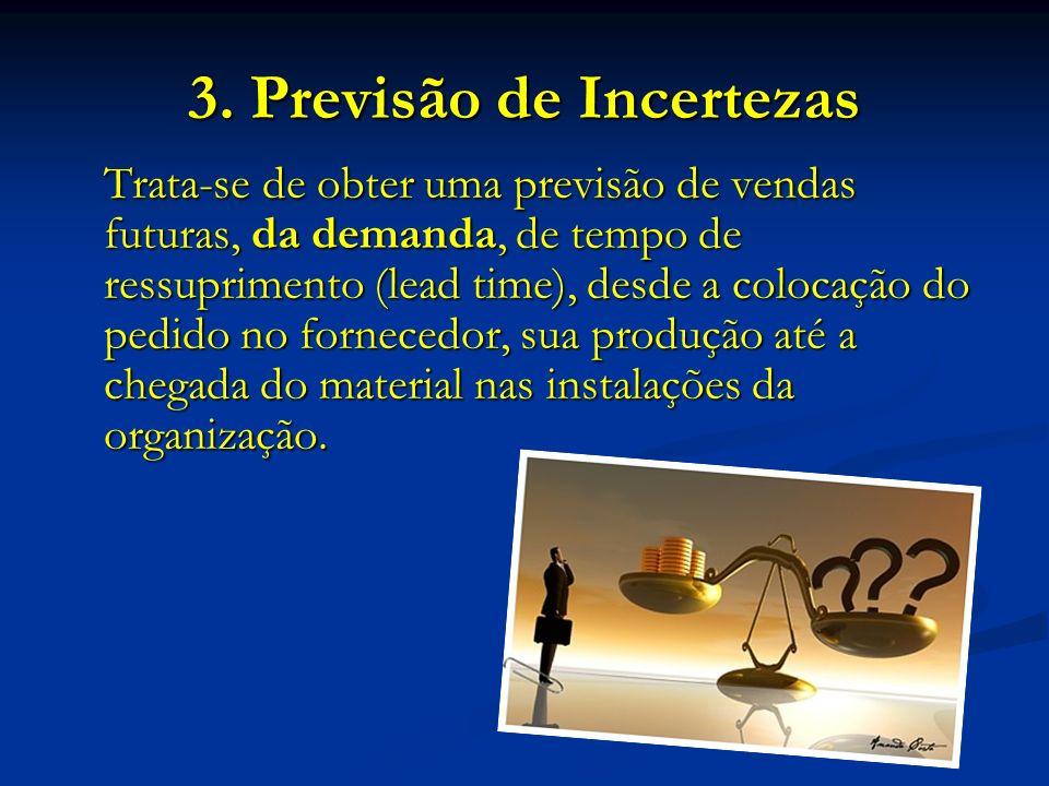3. Previsão de Incertezas Trata-se de obter uma previsão de vendas futuras, da demanda, de tempo de ressuprimento (lead time), desde a colocação do pe
