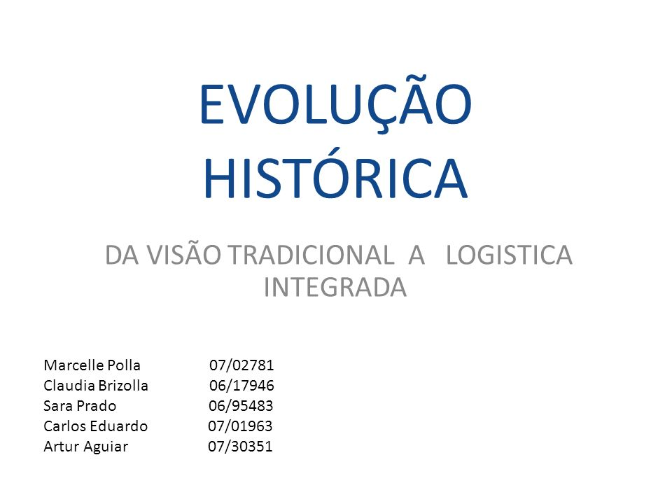 EVOLUÇÃO HISTÓRICA DA VISÃO TRADICIONAL A LOGISTICA INTEGRADA Marcelle Polla 07/02781 Claudia Brizolla 06/17946 Sara Prado 06/95483 Carlos Eduardo 07/