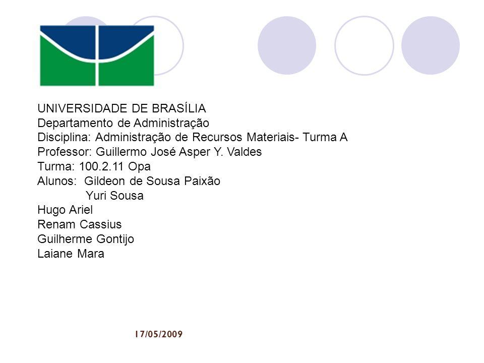 UNIVERSIDADE DE BRASÍLIA Departamento de Administração Disciplina: Administração de Recursos Materiais- Turma A Professor: Guillermo José Asper Y. Val