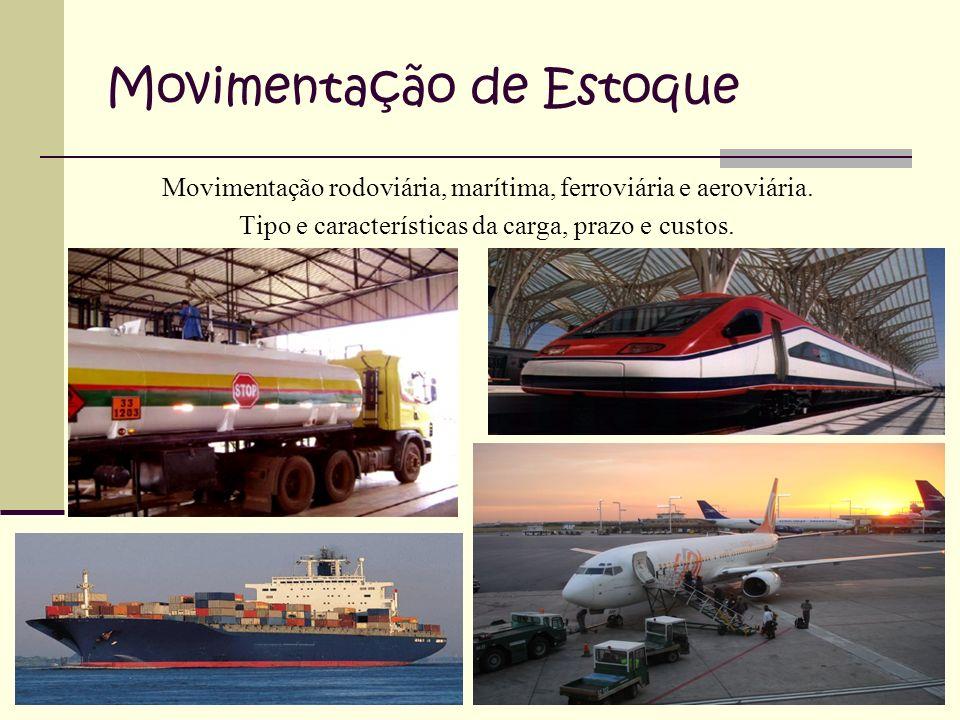 Movimentação de Estoque Movimentação rodoviária, marítima, ferroviária e aeroviária.
