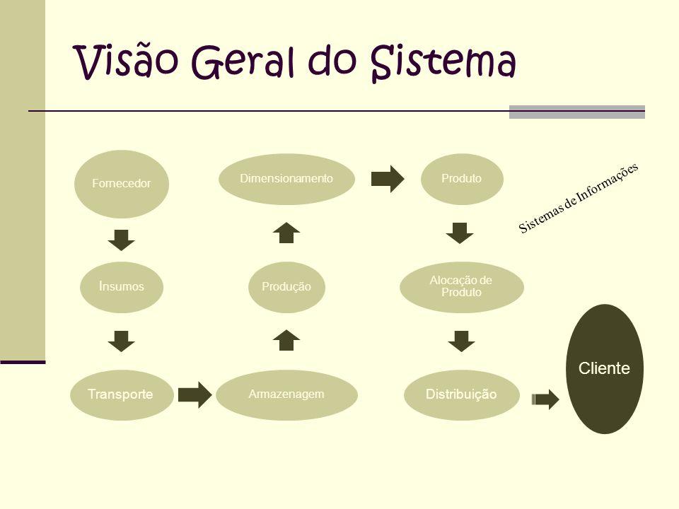 Visão Geral do Sistema Fornecedor I nsumos Transporte ArmazenagemProduçãoDimensionamentoProduto Alocação de Produto Distribuição Cliente Sistemas de Informações