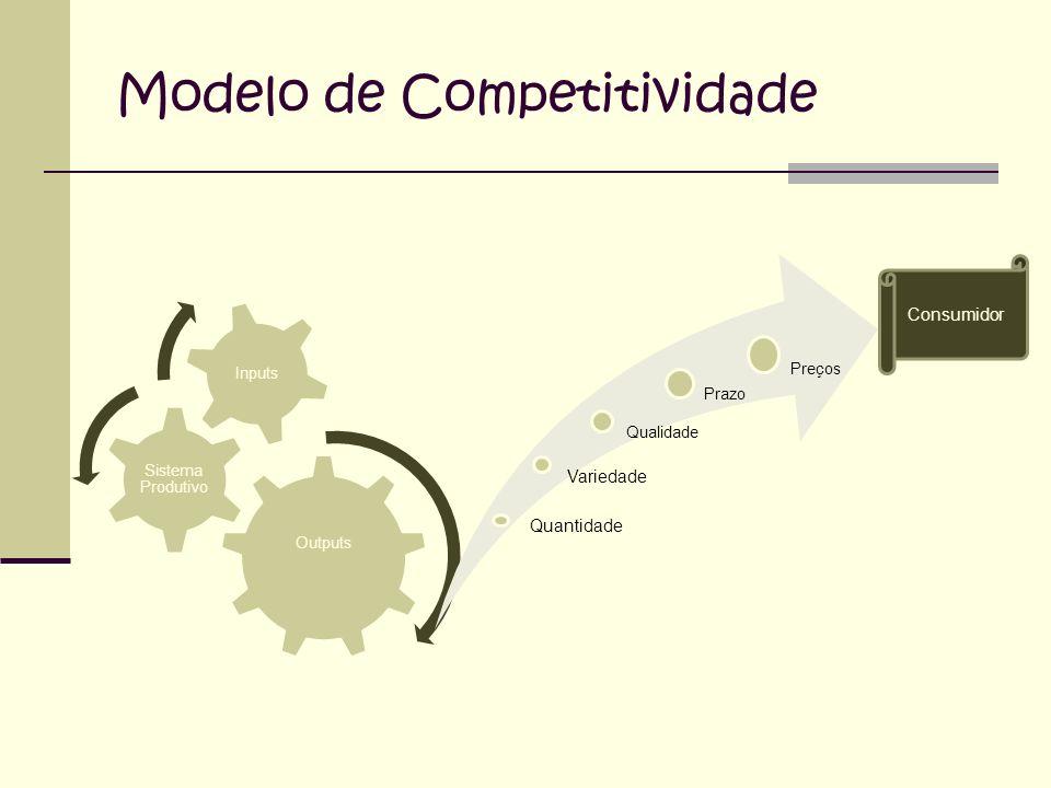 Modelo de Competitividade Outputs Sistema Produtivo Inputs Quantidade Variedade Qualidade Prazo Preços Consumidor
