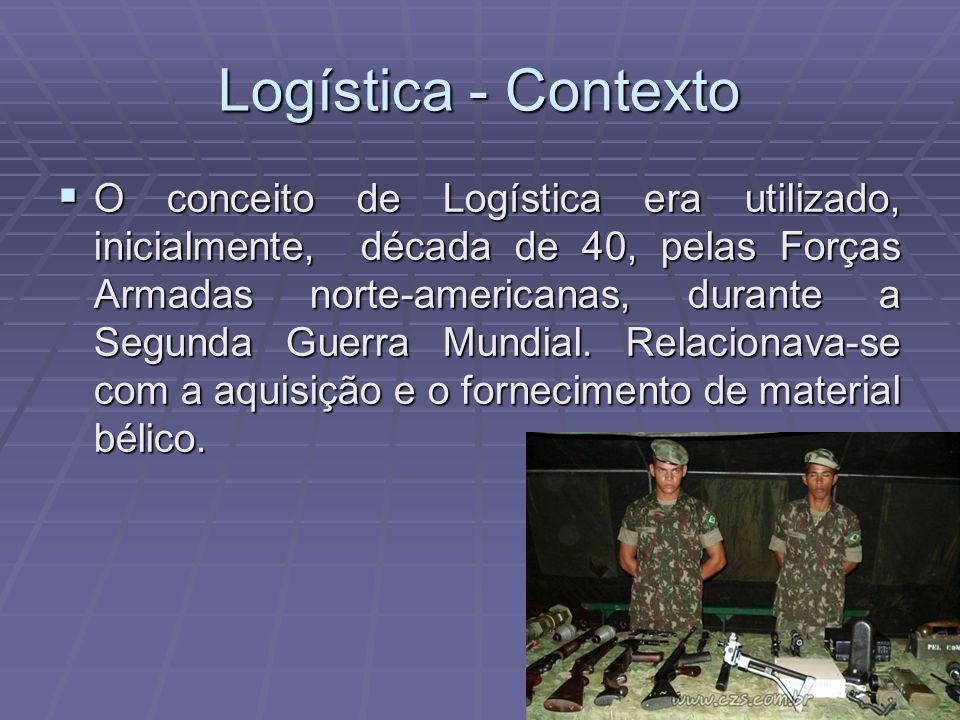 Logística - Contexto O conceito de Logística era utilizado, inicialmente, década de 40, pelas Forças Armadas norte-americanas, durante a Segunda Guerr