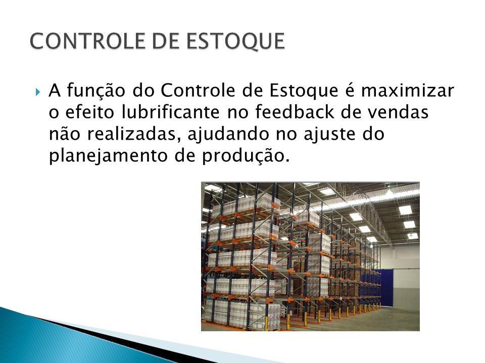 A função do Controle de Estoque é maximizar o efeito lubrificante no feedback de vendas não realizadas, ajudando no ajuste do planejamento de produção