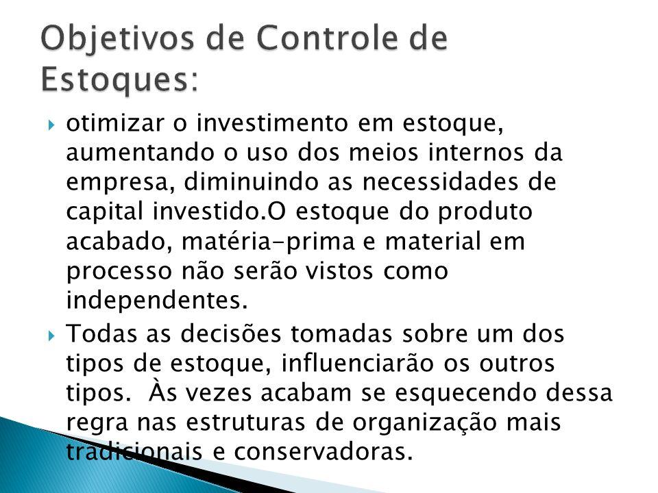 otimizar o investimento em estoque, aumentando o uso dos meios internos da empresa, diminuindo as necessidades de capital investido.O estoque do produ