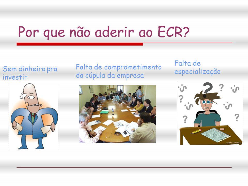 Por que não aderir ao ECR? Sem dinheiro pra investir Falta de especialização Falta de comprometimento da cúpula da empresa