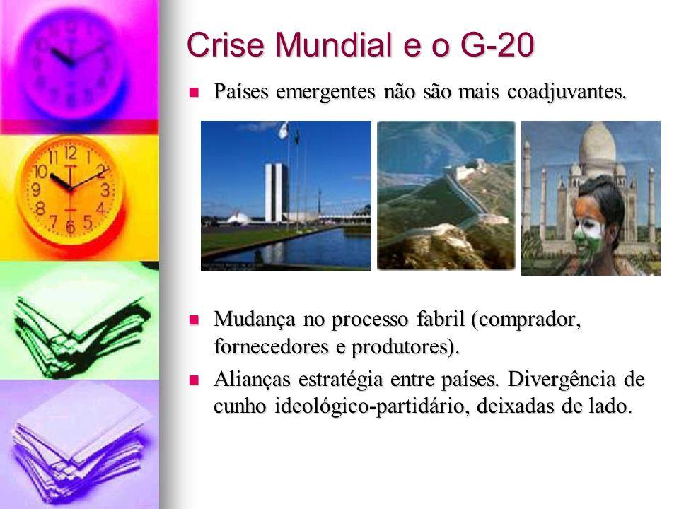 Crise Mundial e o G-20 Países emergentes não são mais coadjuvantes. Países emergentes não são mais coadjuvantes. Mudança no processo fabril (comprador