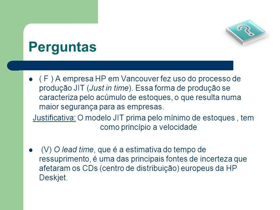 Perguntas ( F ) A empresa HP em Vancouver fez uso do processo de produção JIT (Just in time). Essa forma de produção se caracteriza pelo acúmulo de es