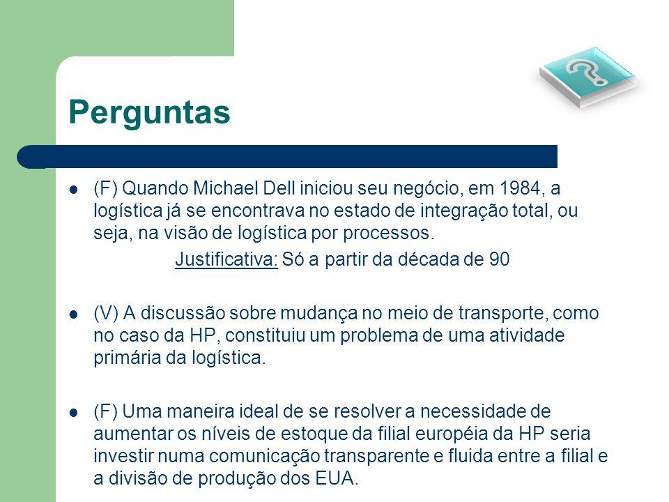 Perguntas (F) Quando Michael Dell iniciou seu negócio, em 1984, a logística já se encontrava no estado de integração total, ou seja, na visão de logís