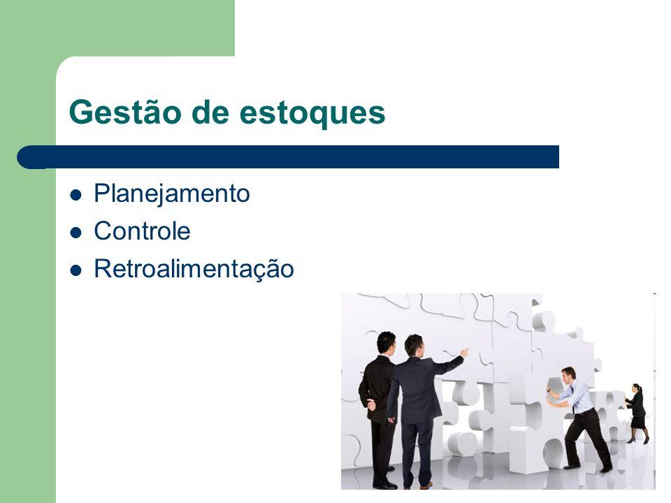 Gestão de estoques Planejamento Controle Retroalimentação