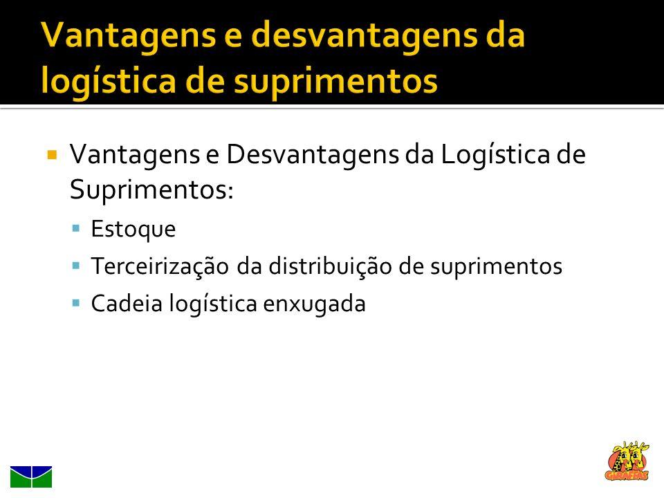 Vantagens e Desvantagens da Logística de Suprimentos: Estoque Terceirização da distribuição de suprimentos Cadeia logística enxugada