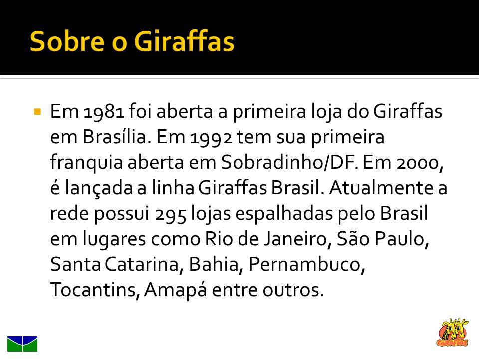 Em 1981 foi aberta a primeira loja do Giraffas em Brasília. Em 1992 tem sua primeira franquia aberta em Sobradinho/DF. Em 2000, é lançada a linha Gira