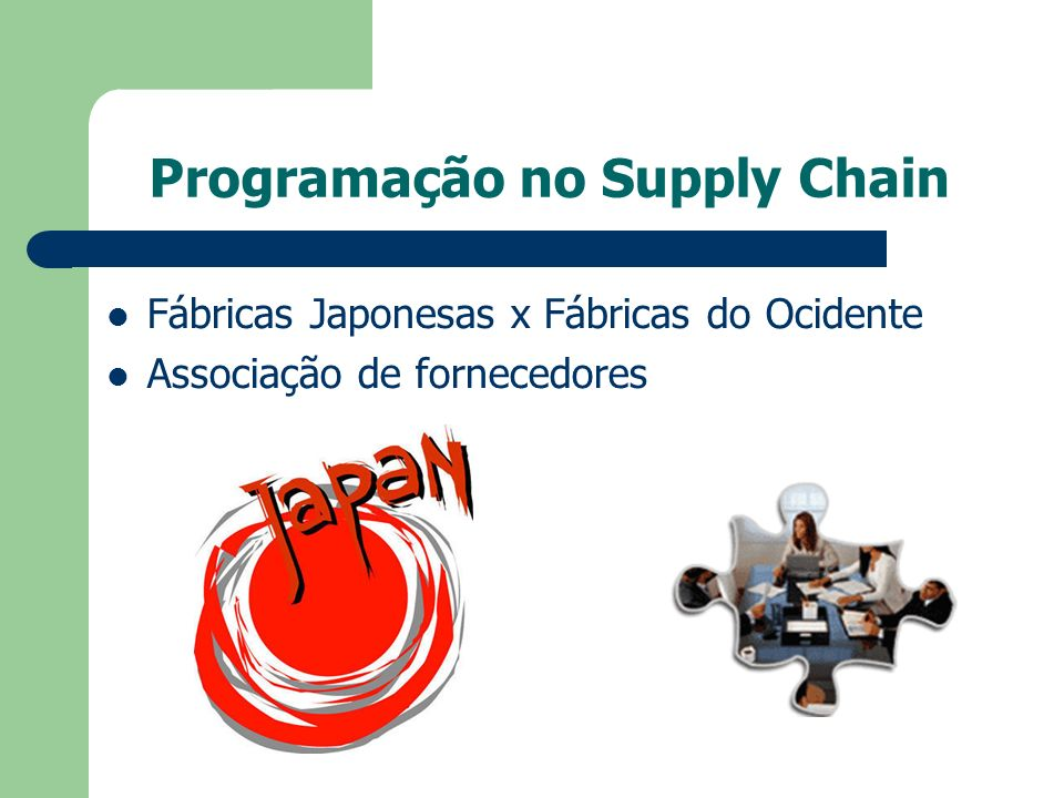 Programação no Supply Chain Fábricas Japonesas x Fábricas do Ocidente Associação de fornecedores