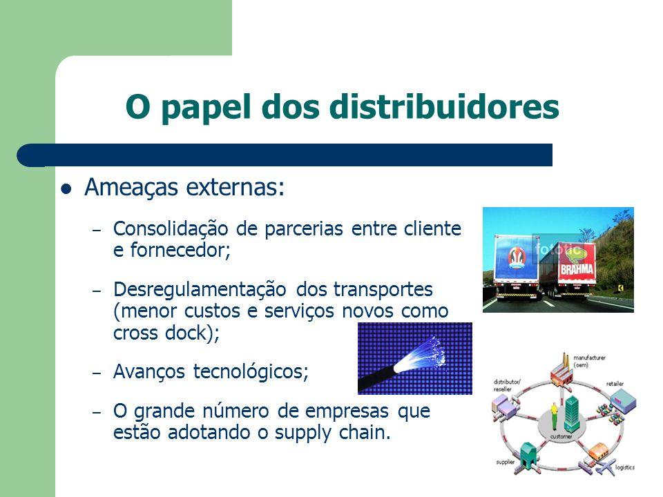 O papel dos distribuidores Ameaças externas: – Consolidação de parcerias entre cliente e fornecedor; – Desregulamentação dos transportes (menor custos