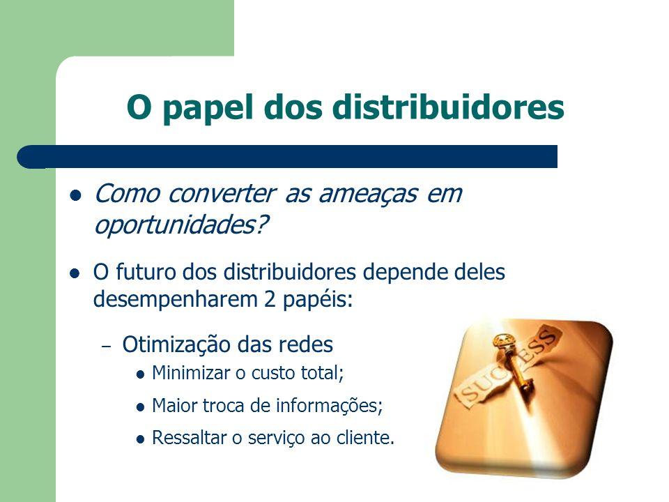 O papel dos distribuidores Como converter as ameaças em oportunidades? O futuro dos distribuidores depende deles desempenharem 2 papéis: – Otimização