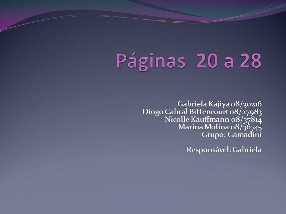 Gabriela Kajiya 08/30216 Diogo Cabral Bittencourt 08/27983 Nicolle Kauffmann 08/37814 Marina Molina 08/36745 Grupo: Gamadini Responsável: Gabriela
