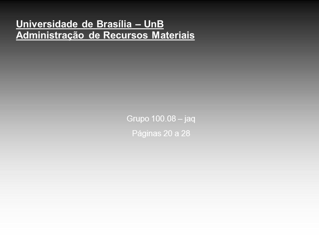 Universidade de Brasília – UnB Administração de Recursos Materiais Grupo 100.08 – jaq Páginas 20 a 28