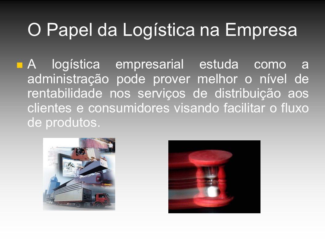 O Papel da Logística na Empresa A logística empresarial estuda como a administração pode prover melhor o nível de rentabilidade nos serviços de distribuição aos clientes e consumidores visando facilitar o fluxo de produtos.