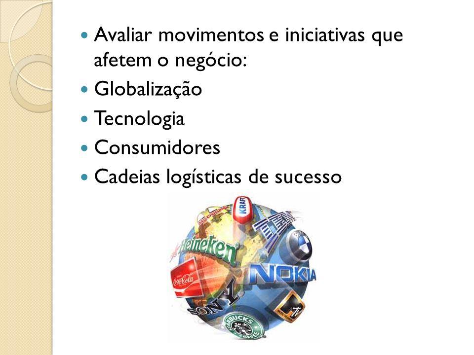 Avaliar movimentos e iniciativas que afetem o negócio: Globalização Tecnologia Consumidores Cadeias logísticas de sucesso