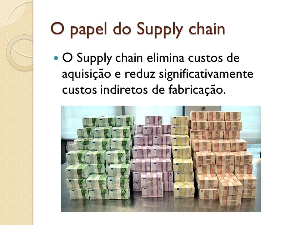 O papel do Supply chain O Supply chain elimina custos de aquisição e reduz significativamente custos indiretos de fabricação.