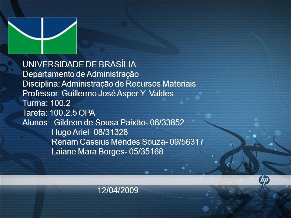 UNIVERSIDADE DE BRASÍLIA Departamento de Administração Disciplina: Administração de Recursos Materiais Professor: Guillermo José Asper Y.