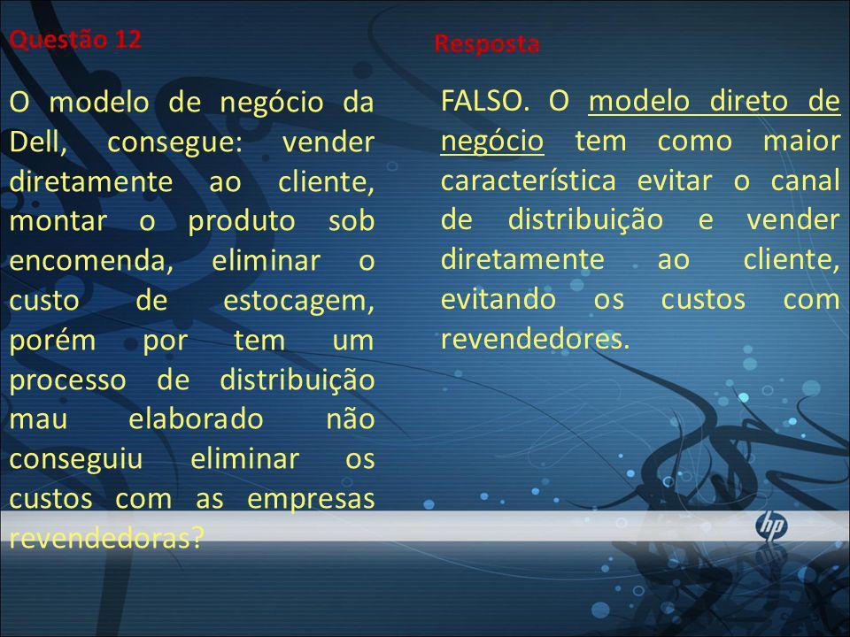 Questão 12 O modelo de negócio da Dell, consegue: vender diretamente ao cliente, montar o produto sob encomenda, eliminar o custo de estocagem, porém