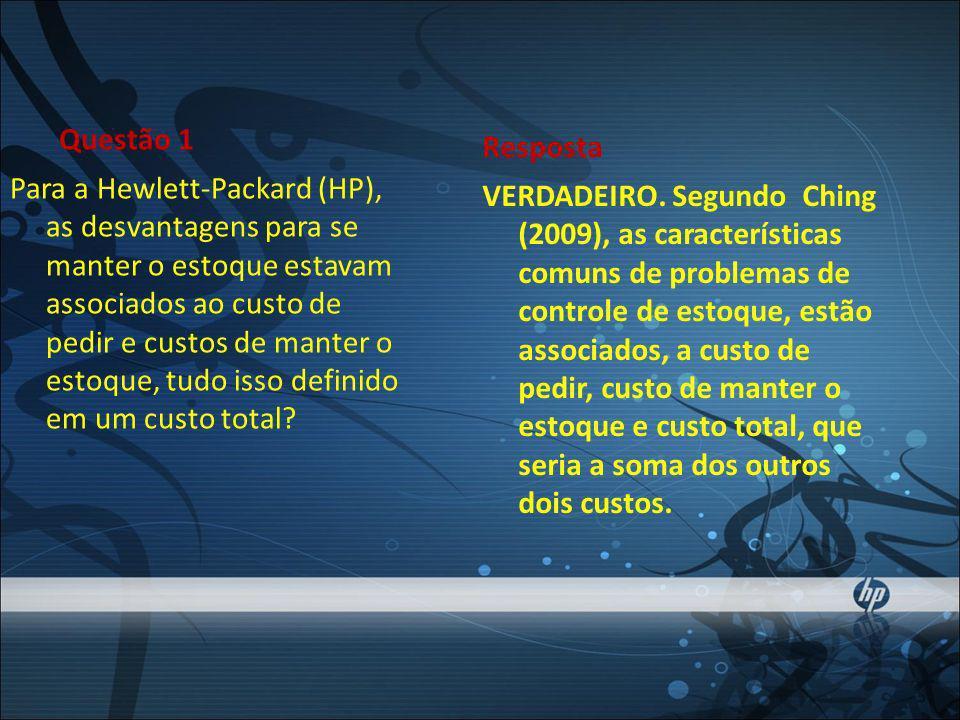 Questão 1 Para a Hewlett-Packard (HP), as desvantagens para se manter o estoque estavam associados ao custo de pedir e custos de manter o estoque, tudo isso definido em um custo total.