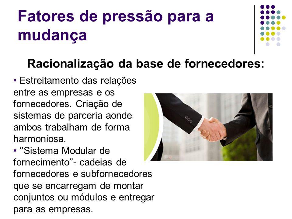 Fatores de pressão para a mudança Racionalização da base de fornecedores: Estreitamento das relações entre as empresas e os fornecedores. Criação de s