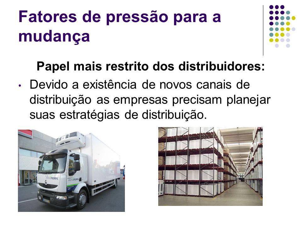 Fatores de pressão para a mudança Papel mais restrito dos distribuidores: Devido a existência de novos canais de distribuição as empresas precisam pla
