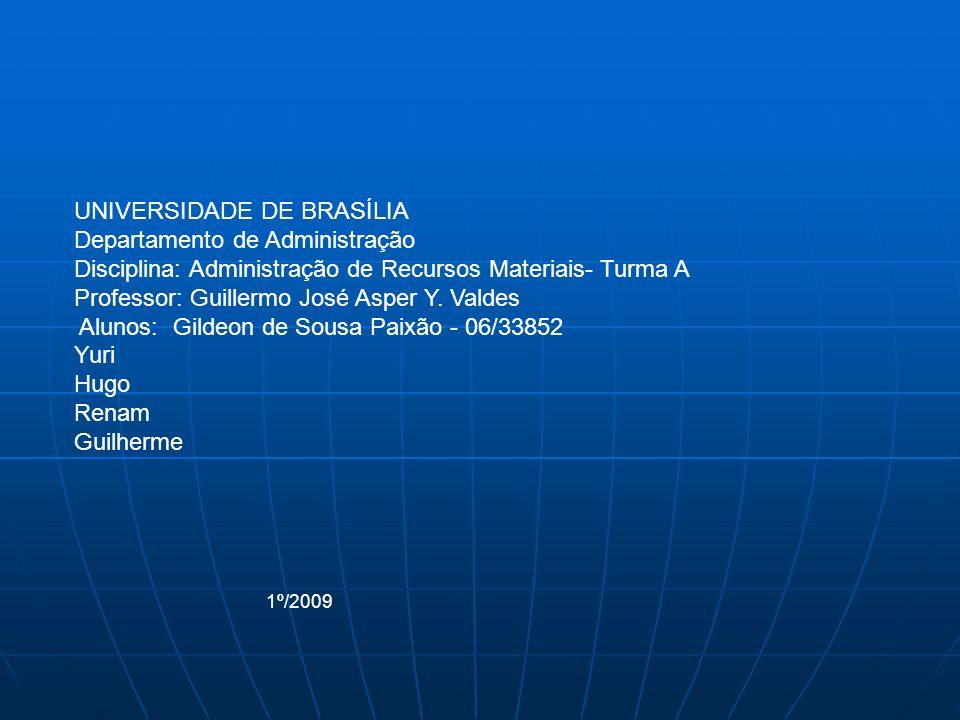 UNIVERSIDADE DE BRASÍLIA Departamento de Administração Disciplina: Administração de Recursos Materiais- Turma A Professor: Guillermo José Asper Y.