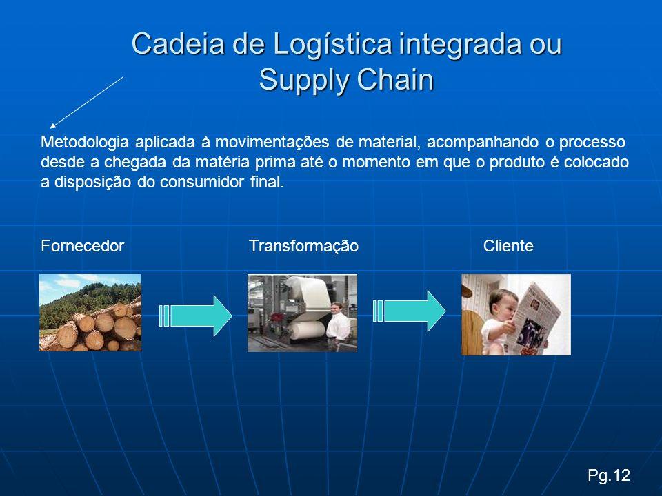 Cadeia de Logística integrada ou Supply Chain Metodologia aplicada à movimentações de material, acompanhando o processo desde a chegada da matéria prima até o momento em que o produto é colocado a disposição do consumidor final.