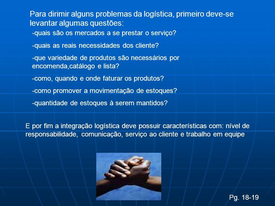 Para dirimir alguns problemas da logística, primeiro deve-se levantar algumas questões: -quais são os mercados a se prestar o serviço.