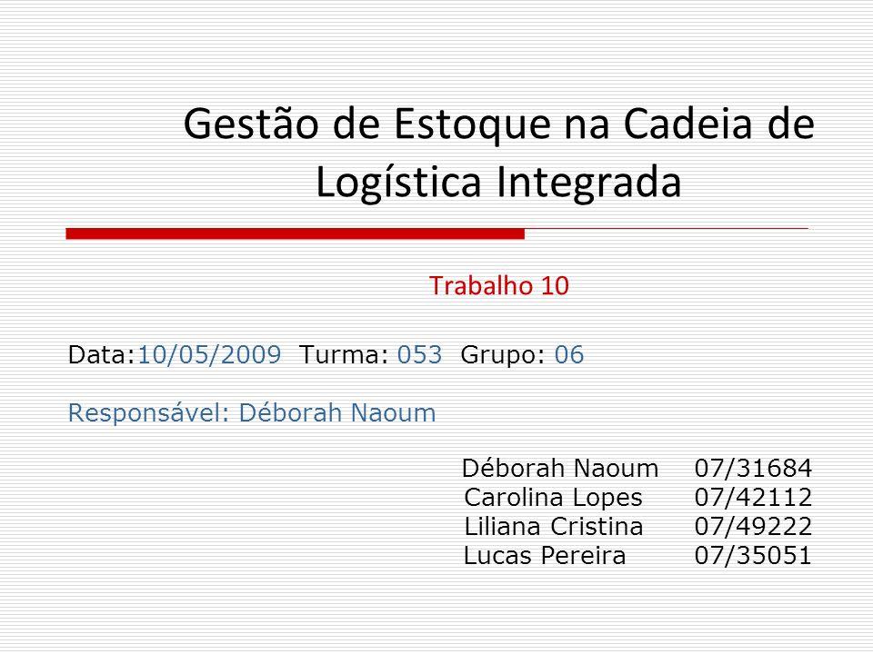 Gestão de Estoque na Cadeia de Logística Integrada Trabalho 10 Data:10/05/2009 Turma: 053 Grupo: 06 Responsável: Déborah Naoum Déborah Naoum 07/31684