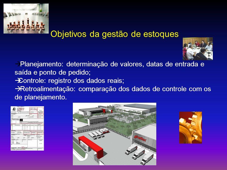 Objetivos da gestão de estoques Planejamento: determinação de valores, datas de entrada e saída e ponto de pedido; Controle: registro dos dados reais;