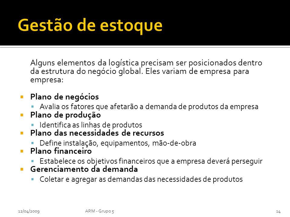 Alguns elementos da logística precisam ser posicionados dentro da estrutura do negócio global. Eles variam de empresa para empresa: Plano de negócios