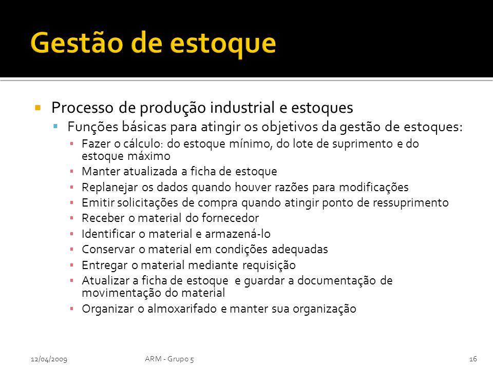 Processo de produção industrial e estoques Funções básicas para atingir os objetivos da gestão de estoques: Fazer o cálculo: do estoque mínimo, do lot