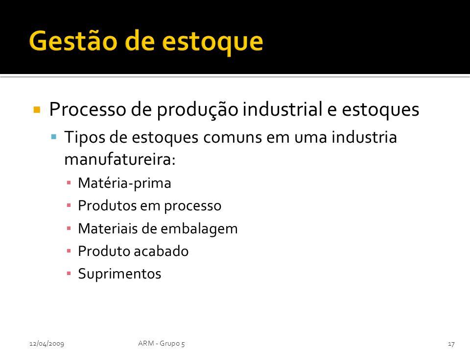 Processo de produção industrial e estoques Tipos de estoques comuns em uma industria manufatureira: Matéria-prima Produtos em processo Materiais de em