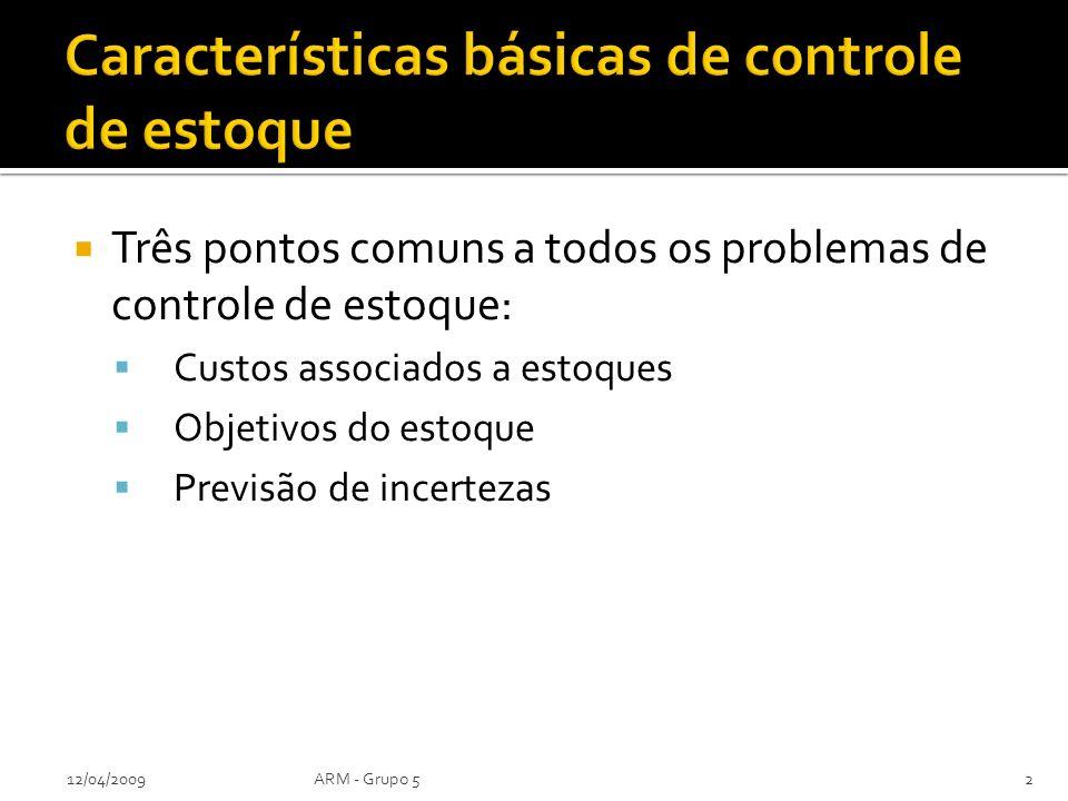 Três pontos comuns a todos os problemas de controle de estoque: Custos associados a estoques Objetivos do estoque Previsão de incertezas 12/04/2009ARM