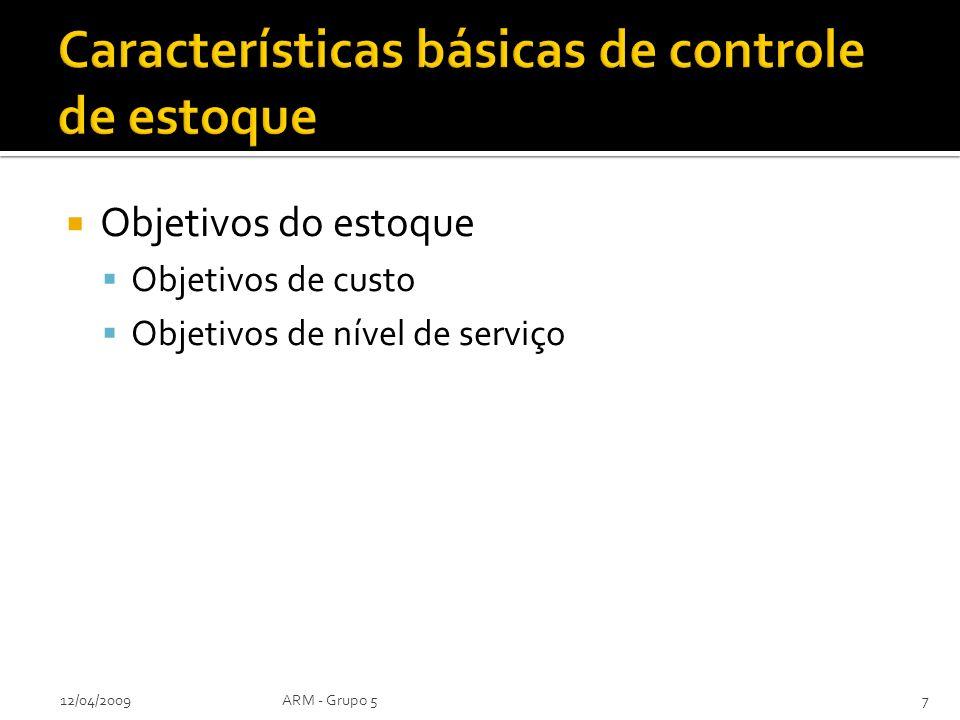 Objetivos do estoque Objetivos de custo Objetivos de nível de serviço 12/04/2009ARM - Grupo 57