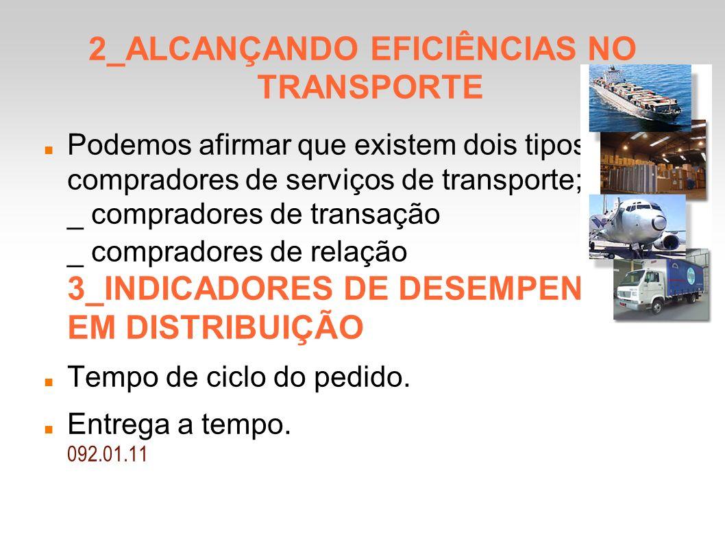 2_ALCANÇANDO EFICIÊNCIAS NO TRANSPORTE Podemos afirmar que existem dois tipos de compradores de serviços de transporte; _ compradores de transação _ compradores de relação 3_INDICADORES DE DESEMPENHO EM DISTRIBUIÇÃO Tempo de ciclo do pedido.