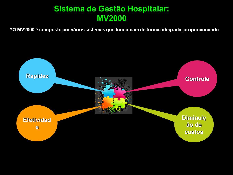Sistema de Gestão Hospitalar: MV2000 O MV2000 é composto por vários sistemas que funcionam de forma integrada, proporcionando: Efetividad e Rapidez Co