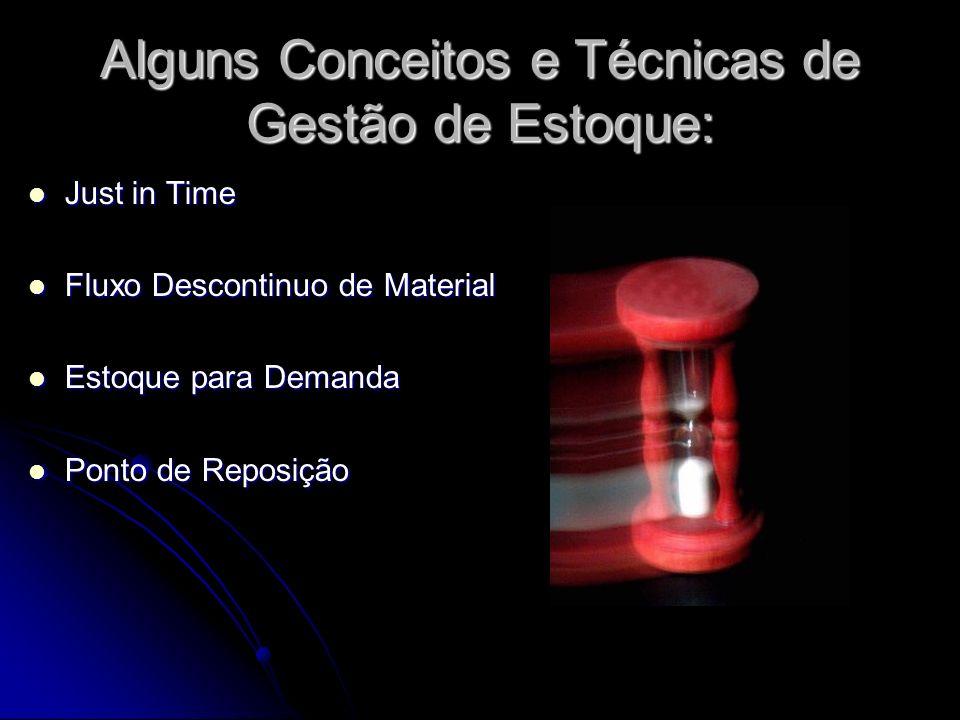 Alguns Conceitos e Técnicas de Gestão de Estoque: Just in Time Just in Time Fluxo Descontinuo de Material Fluxo Descontinuo de Material Estoque para D