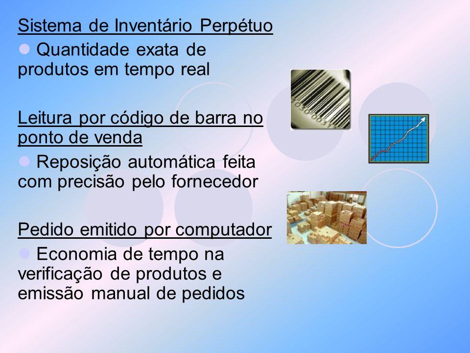 Sistema de Inventário Perpétuo Quantidade exata de produtos em tempo real Leitura por código de barra no ponto de venda Reposição automática feita com